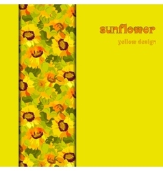 Floral sunflower and leafs vertical border design vector image vector image