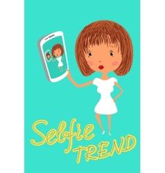 Girl is taking selfie handdrawn vector
