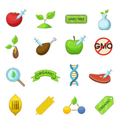 Gmo goods icons set cartoon style vector