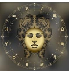 Golden woman portrait zodiac virgo sign vector