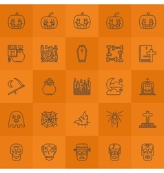 Halloween line icons vector