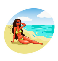 hot girl in bikini on a beach vector image