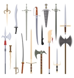 Knifes iron weapon collection vector image