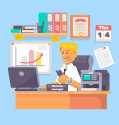 manager or employee working a laptop vector image vector image