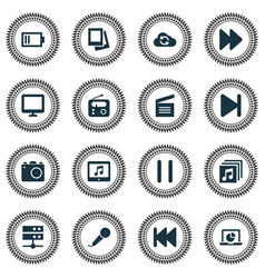 Multimedia icons set collection of music camera vector
