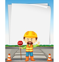 Paper template with road worker on the road vector