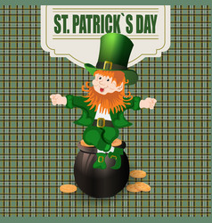 Patrick day cheerful leprechaun green hat to the vector