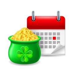 Pot of gold and calendar vector