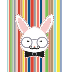 Rabbit Head with Glasses vector image
