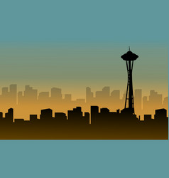 Seattle space needle tower scenery silhouettes vector