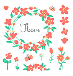 Simple cute flowers and butterflies for the design vector