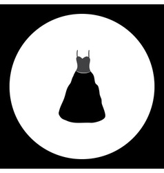 Simple ladies evening dress isolated black icon vector