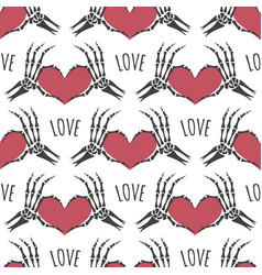 Skeleton hands heart seamless pattern vector