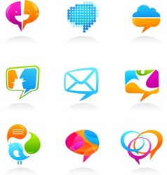 social media and speech bubbles vector image
