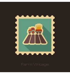 Tractor on field retro flat stamp with long shadow vector