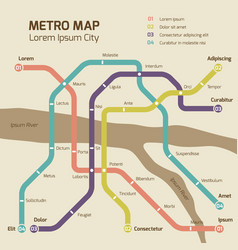 Vintage colors subway map concept vector