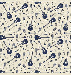 vintage musical seamless pattern with guitars vector image