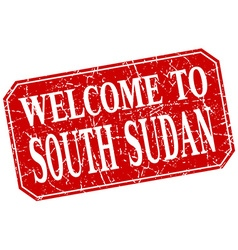 welcome to South Sudan red square grunge stamp vector image vector image