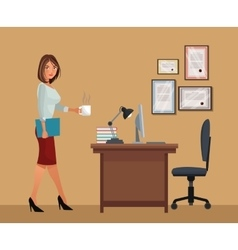 Woman with cup coffee office desk chair laptop vector