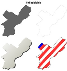 Philadelphia map icon set vector