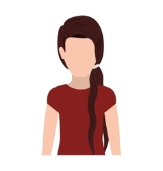 Half body silhouette woman with ponytail hair vector