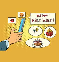 Mobile app greetings happy birthday vector