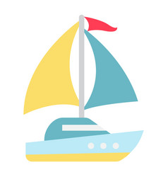 Yacht flat icon travel and tourism vector