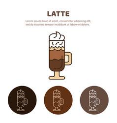 Glass of hot latte macchiato coffee close up vector