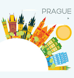 Prague skyline with color buildings blue sky and vector