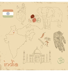 set of Indian symbols on vintage vector image