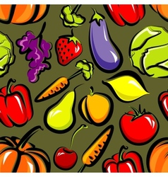 Food background with fruit and vegetables seamless vector