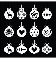 Christmas ball Christmas bauble white icons vector image