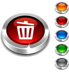 Recycle bin 3d button vector