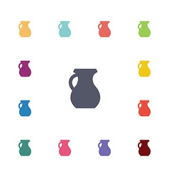 Pitcher flat icons set vector