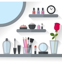 Home dressing table interior vector