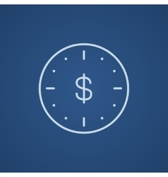 Wall clock with dollar symbol line icon vector