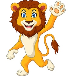 Cartoon funny lion waving hand vector