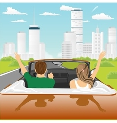 Happy free couple driving in cabriolet car vector
