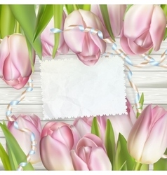 Empty note paper and tulip flowers eps 10 vector