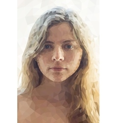 Low poly abstract portrait girl vector image