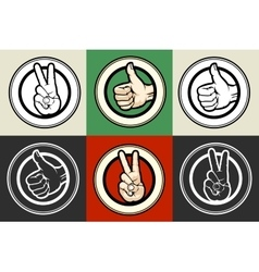 Thumb up and victory gestures emblem set vector