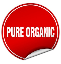 Pure organic round red sticker isolated on white vector