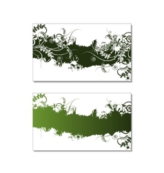 Two green floral card with vetch grass and swirls vector image