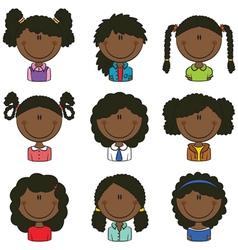 African-american girls avatar vector