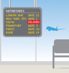 airport delayed sign vector image vector image