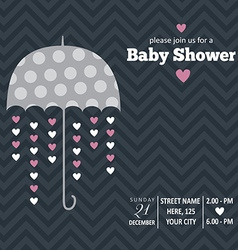 Baby girl invitation for baby shower vector image
