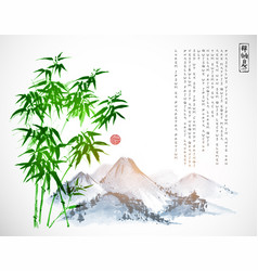 bamboo tree and mountains hand drawn with ink on vector image vector image