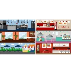 banner with restaurant interiors Kitchen vector image