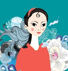 beautiful portrait of east girl vector image