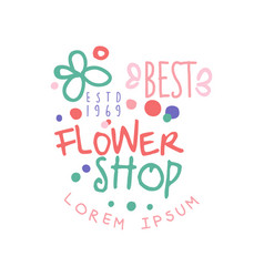 best flower shop logo template estd 1969 label vector image vector image